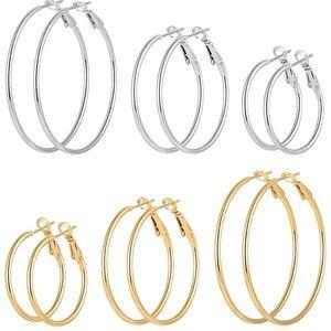 Gold Silver Hoop Earrings 6 Pairs